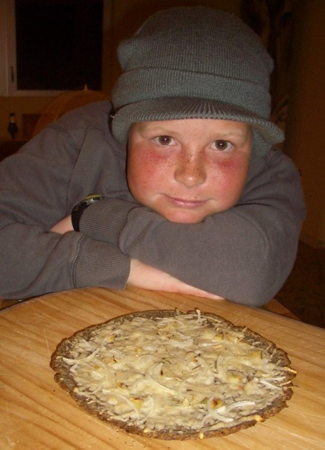 Casey with his Modified Atkins Pizza